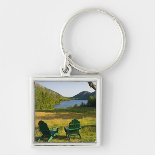 The Adirondack Chairs on the lawn of the Jordan Silver-Colored Square Keychain