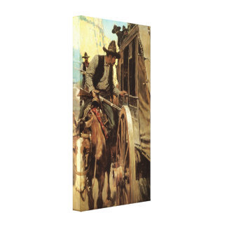 The Admirable Outlaw by NC Wyeth Vintage Cowboys Canvas Print