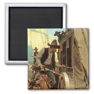The Admirable Outlaw by NC Wyeth, Vintage Cowboys Fridge Magnets
