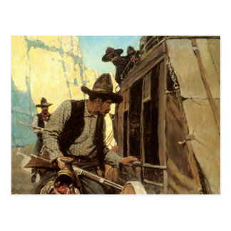The Admirable Outlaw by NC Wyeth, Vintage Cowboys Postcard