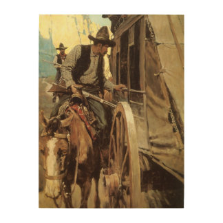 The Admirable Outlaw by NC Wyeth Vintage Cowboys Wood Print