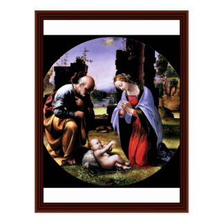 The Adoration Of The Child Tondo By Bartolomeo Fra Postcard