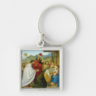 The Adoration of the Kings, 1813 Silver-Colored Square Keychain