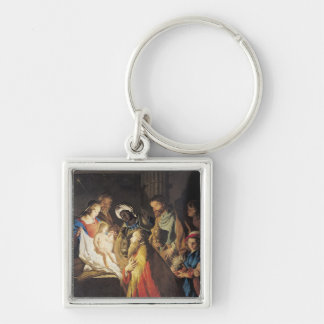 The Adoration of the Magi 2 Silver-Colored Square Keychain