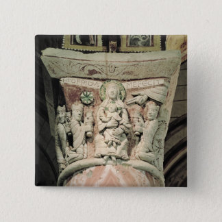The Adoration of the Magi, column capital (stone) Pinback Button