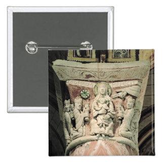 The Adoration of the Magi, column capital (stone) Pinback Button