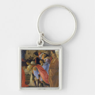 The Adoration of the Magi, detail of depicting sel Silver-Colored Square Keychain