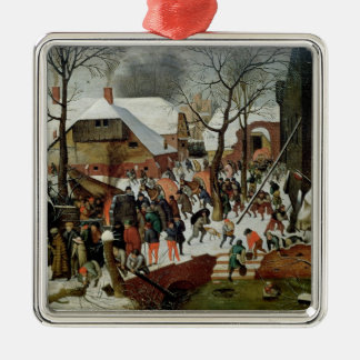 The Adoration of the Magi Square Metal Christmas Ornament