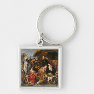 The Adoration of the Magi Silver-Colored Square Keychain