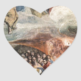 The Adoration of the Name of Jesus by El Greco Heart Sticker