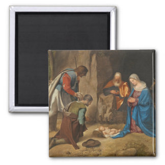 The Adoration of the Shepherds, 1505-10 2 Inch Square Magnet