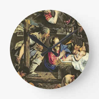 The Adoration of the Shepherds, 1612 (oil on canva Round Clock