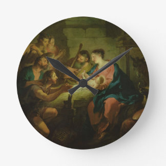 The Adoration of the Shepherds, 1725 (oil on canva Round Clock
