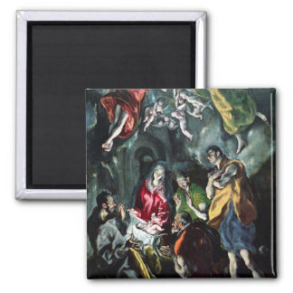 The Adoration of the Shepherds 2 Inch Square Magnet