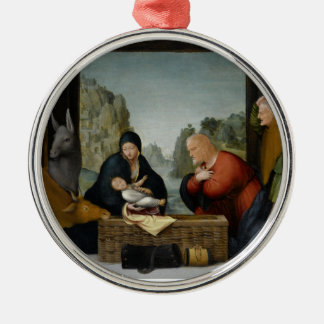 The Adoration of the Shepherds by Bartolomeo Round Metal Christmas Ornament