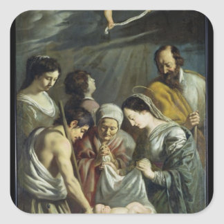 The Adoration of the Shepherds, c.1630-32 Square Sticker
