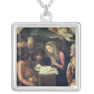 The Adoration of the Shepherds, c.1640-42 Silver Plated Necklace