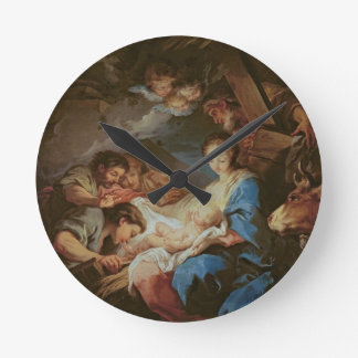 The Adoration of the Shepherds (oil on canvas) 2 Round Clock