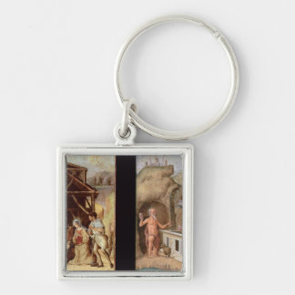 The Adoration of the Shepherds Silver-Colored Square Keychain
