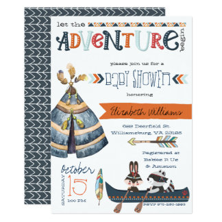 The Adventure Begins - Tribal Baby Shower Card