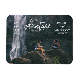 The Adventure Begins | Wedding Save the Date Photo Magnet