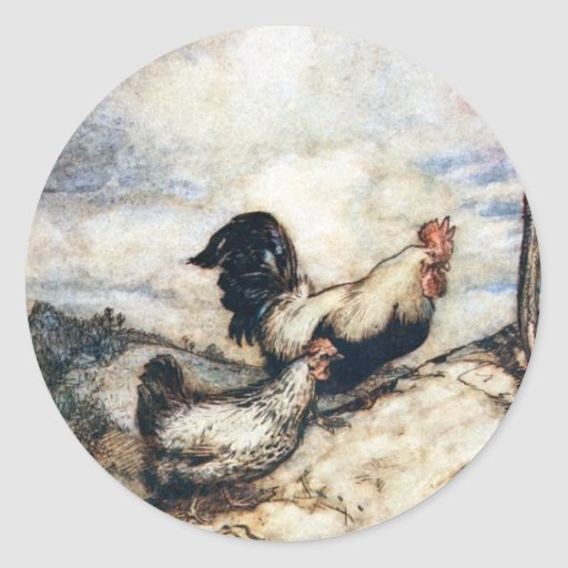 The Adventures of Chanticleer and Partlet Classic Round Sticker