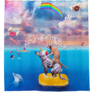 The Adventures Of Unicorn Dog And Sailor Cat Shower Curtain