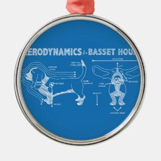 The Aerodynamics of a Basset Hound Round Metal Christmas Ornament