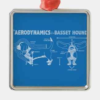 The Aerodynamics of a Basset Hound Square Metal Christmas Ornament