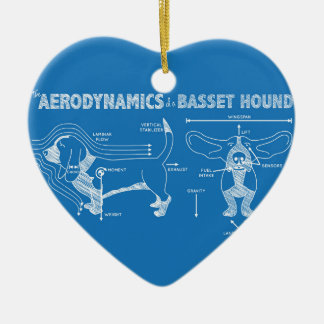The Aerodynamics of a Basset Hound Double-Sided Heart Ceramic Christmas Ornament