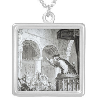 The Affray in the High Church, Edinburgh Square Pendant Necklace