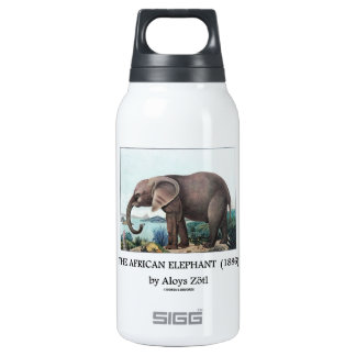The African Elephant (1886) by Aloys Zötl Thermos Water Bottle