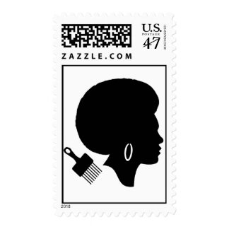 THE AFRO & A PICK POSTAGE STAMP