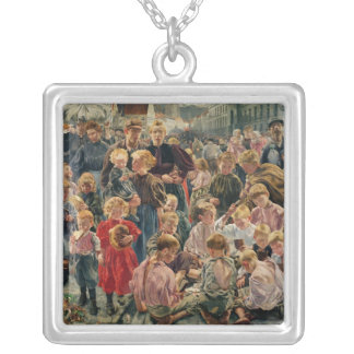 The Ages of the Worker Silver Plated Necklace