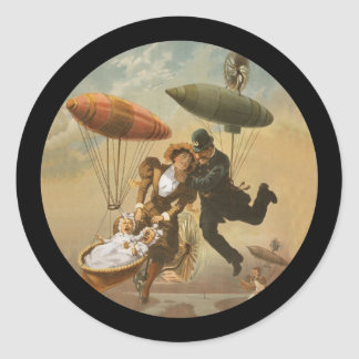 The Air Ship a Comedy Classic Round Sticker