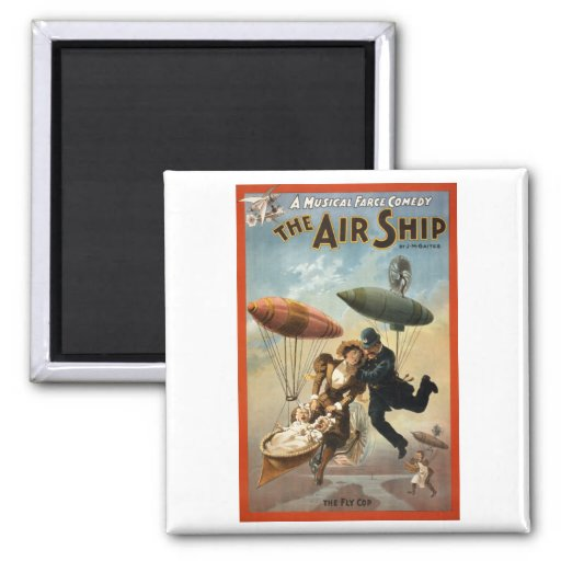The Air Ship - The Fly Cop 2 Inch Square Magnet