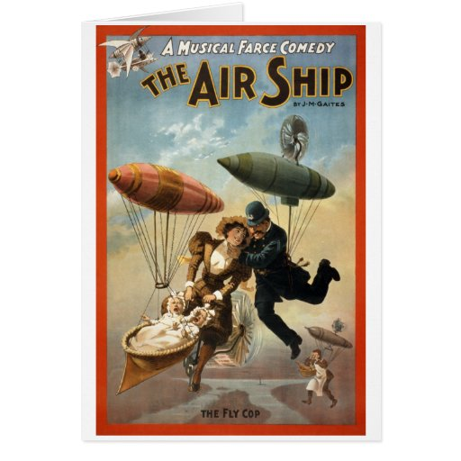 The Air Ship - The Fly Cop Greeting Card
