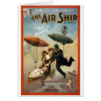 The Air Ship - The Fly Cop Greeting Cards