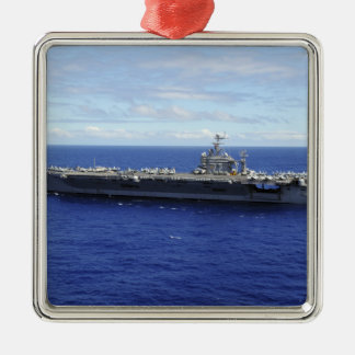 The aircraft carrier USS Abraham Lincoln 2 Square Metal Christmas Ornament