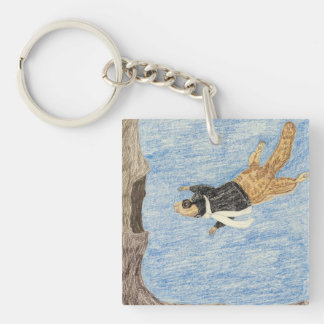 The Airplane Pilot Double-Sided Square Acrylic Keychain