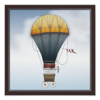 The Airship Abeelle Steampunk Flying Machine Poster