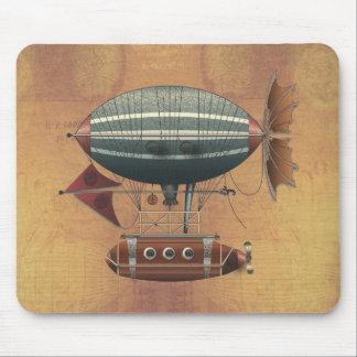 The Airship Aleutian Steampunk Flying Machine Mousepad