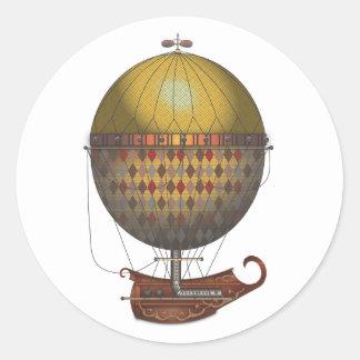 The Airship Nautisme Steampunk Flying Machine Classic Round Sticker