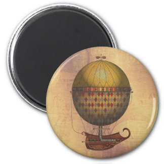 The Airship Nautisme Steampunk Flying Machine 2 Inch Round Magnet