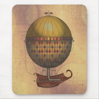 The Airship Nautisme Steampunk Flying Machine Mouse Pad