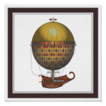 The Airship Nautisme Steampunk Flying Machine Posters