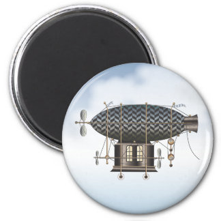 The Airship Petite Noir Steampunk Flying Machine 2 Inch Round Magnet