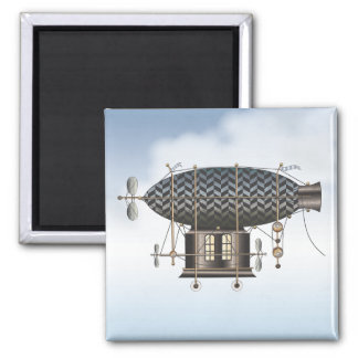 The Airship Petite Noir Steampunk Flying Machine 2 Inch Square Magnet