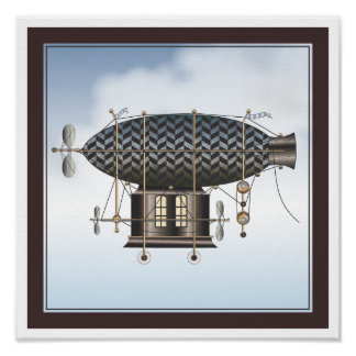 The Airship Petite Noir Steampunk Flying Machine Posters