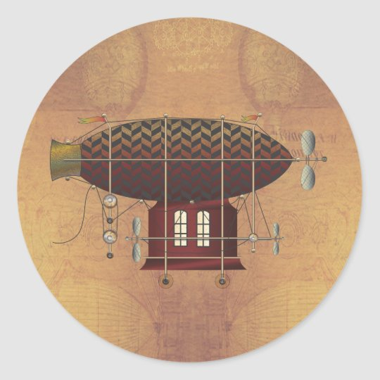The Airship Petite Rouge Steampunk Flying Machine Classic Round Sticker